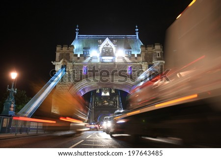 Tower Bridge in London - low angle shot - stock photo