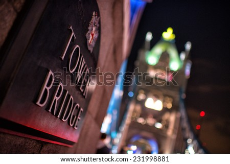 Tower Bridge in London, UK at nigh - stock photo