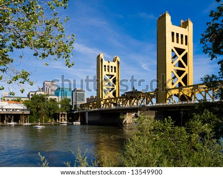 Tower Bridge in Sacramento - stock photo