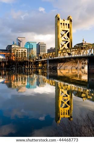 Tower Bridge in Sacramento California - stock photo