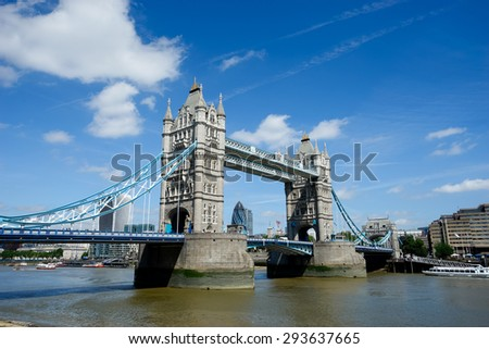 Tower Bridge in summer, London, England - stock photo