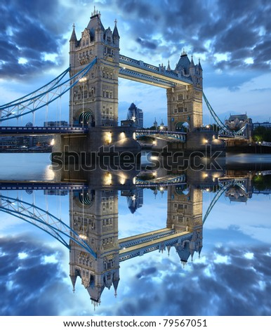 Tower Bridge in the beautiful evening, London, UK - stock photo