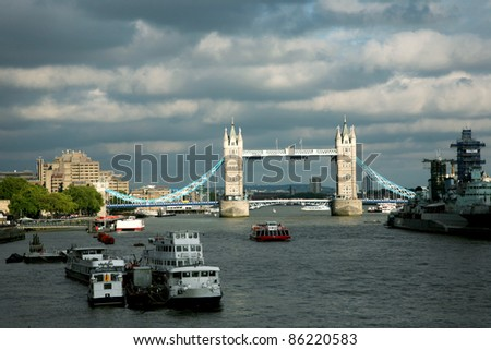 Tower Bridge in the cloudy day - stock photo