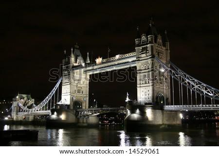Tower bridge in the dark (London, UK) - stock photo