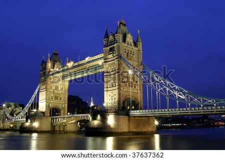 Tower Bridge in the evening time.