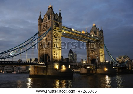 Tower Bridge, London, England, UK, Europe, illuminated at dusk - stock photo