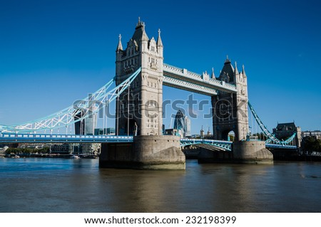 Tower Bridge, London, from the South Bank, England, UK - stock photo