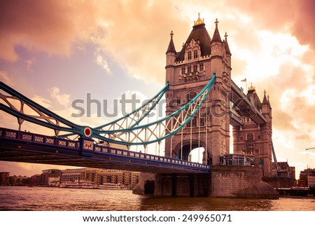Tower Bridge London, UK at sunset - stock photo