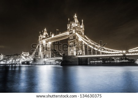 Tower Bridge, London, UK, dual toning - stock photo