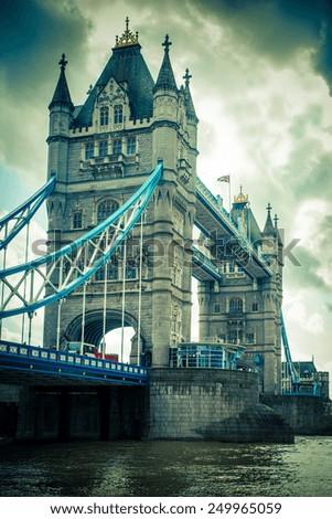 Tower Bridge London, UK with vintage tone - stock photo