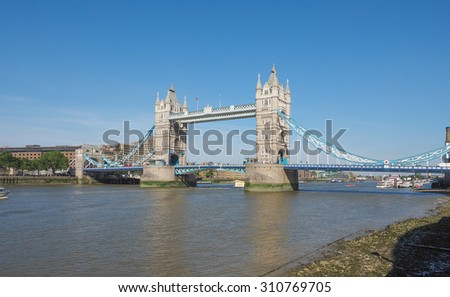 Tower Bridge on River Thames in London, UK - stock photo