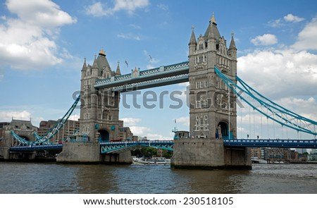 Tower Bridge on River Thames, London, UK  - stock photo