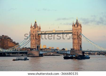 Tower Bridge over Thames River as the city landmark.. - stock photo
