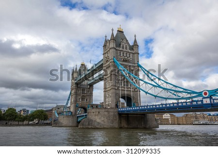 Tower Bridge over Thames River in London, England