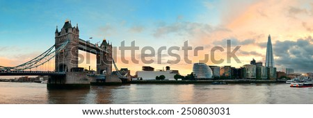 Tower Bridge panorama over Thames River in London - stock photo