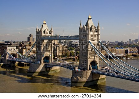 Tower Bridge & River Thames. View from a high vantage point. London UK