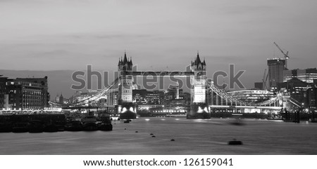 Tower Bridge, seen from South Bank, at dusk - stock photo