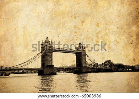 Tower bridge vintage postcard, London - stock photo
