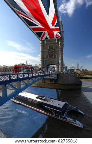 Tower Bridge wit city cruise in London, UK - stock photo