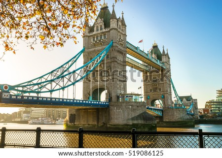 Tower bridge with autumn leaves, London