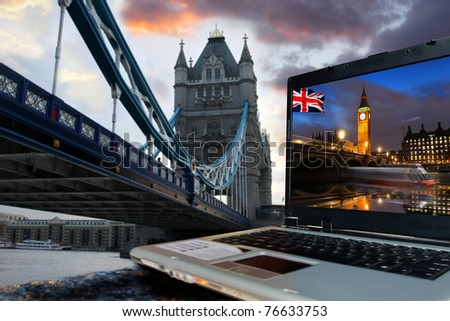 Tower Bridge with Big Ben on screen of notebook, London, UK - stock photo