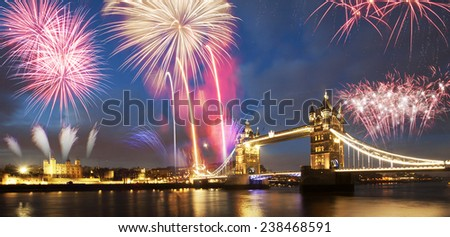 Tower bridge with firework, celebration of the New Year in London, UK. - stock photo