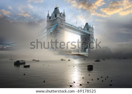 Tower Bridge with fog, London, UK - stock photo