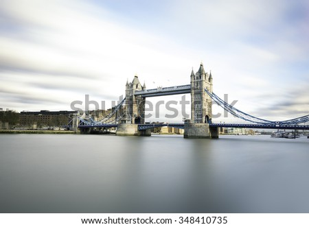 Tower Bridge with silent River Thames - stock photo
