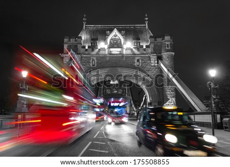 Tower Bridge with Typical London Traffic with a Color Mix Effect - stock photo