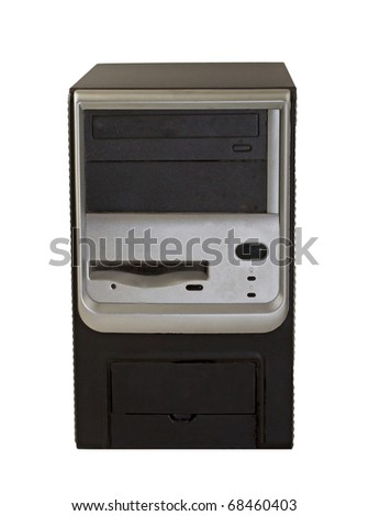 Tower CPU of an old pc isolated over white - stock photo