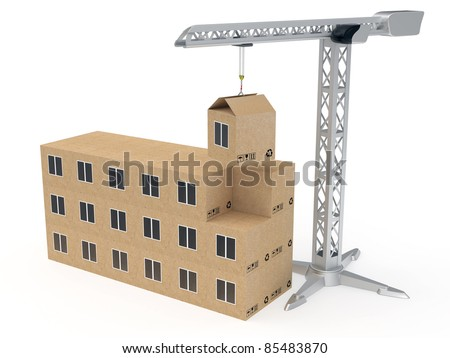 Tower crane building a house from cardboard boxes rendered with soft shadows on white background - stock photo