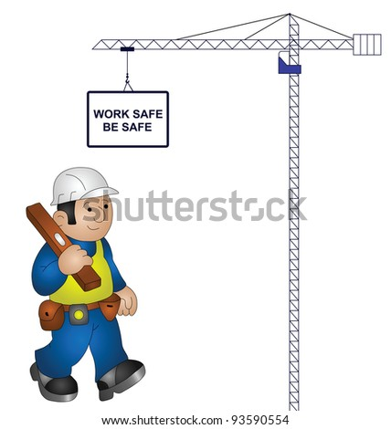 Tower crane health and safety message isolated on white background - stock photo