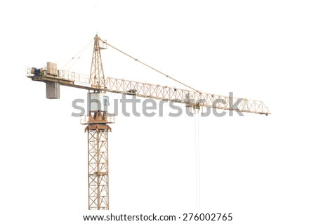 tower crane on white background - stock photo