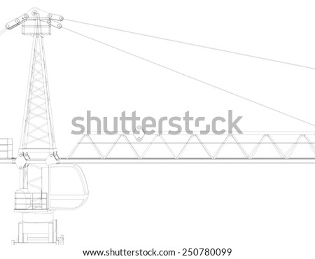 Tower crane, top. Isolated on white background