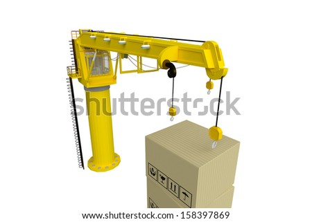 tower crane with box - stock photo