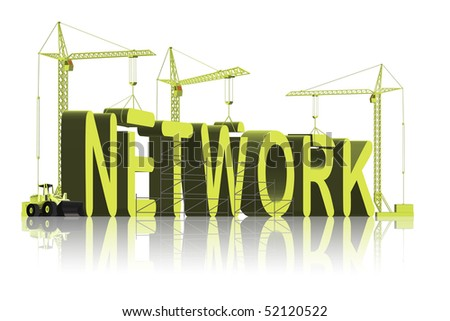tower cranes building 3D word network - stock photo