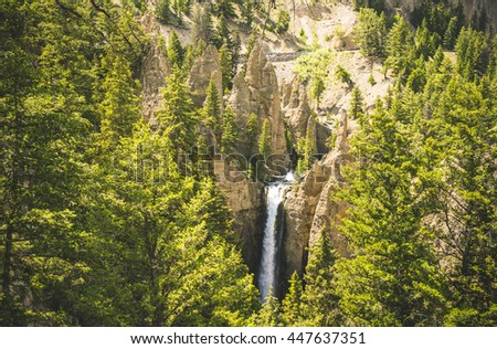 Tower fall on the day in summer season, Yellowstone National park,Wyoming.usa. - stock photo