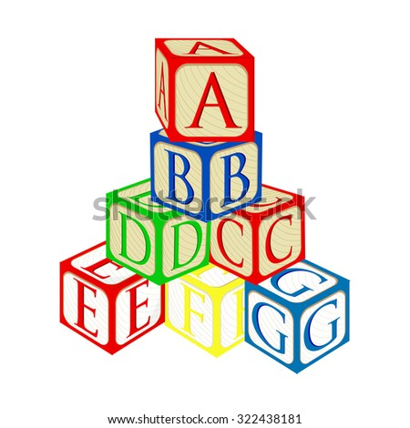 Tower from alphabet baby building blocks raster isolated - stock photo