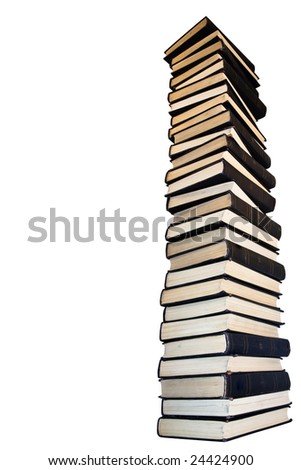 Tower from old books. Isolated on a white background - stock photo