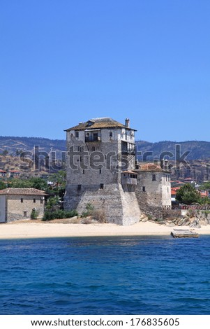 Tower in little town Ouranopoli situated on Halkidiki, Greece near from Holy Mountain Athos