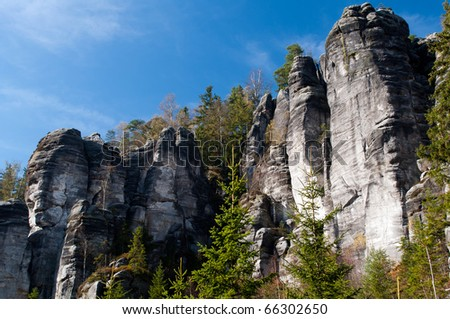 Tower in the rocky town of Adrspach in the Czech Republic. - stock photo