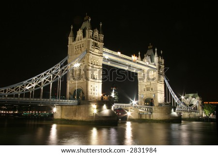 Tower (London) Bridge at night - stock photo