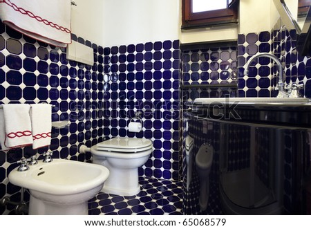 tower, luxury residential apartments, bathroom - stock photo