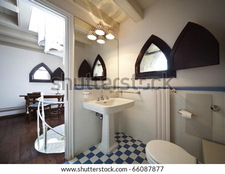 tower, luxury residential apartments, bathroom with open door - stock photo