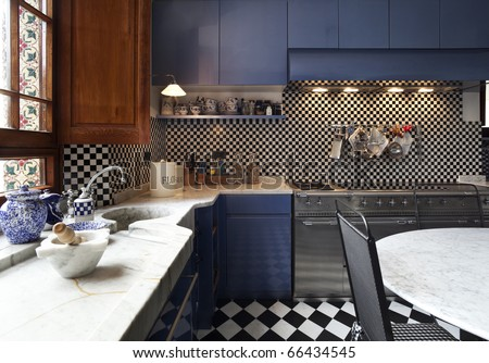 tower, luxury residential apartments, kitchen view - stock photo