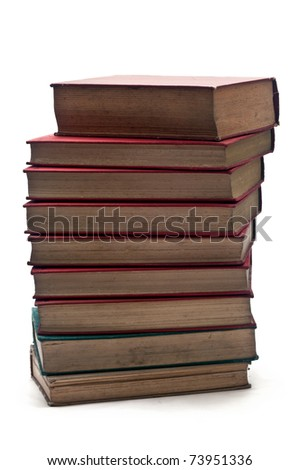 tower made of ancient book over a white background