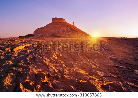 Tower mountains, Akabat desert at sunset time, Africa, Egypt - stock photo