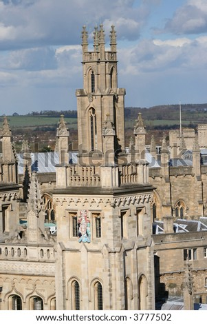 tower of All souls college part of Oxford university - stock photo