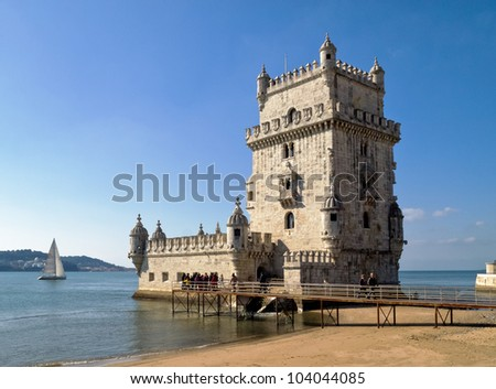 Tower of Belem (Torre de Belem) - Lisbon, Portugal - stock photo