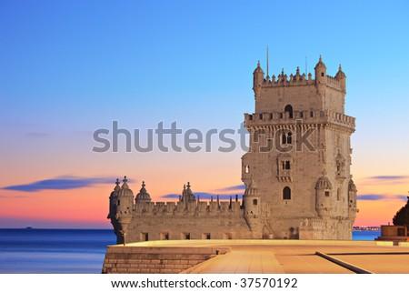 Tower of Belem (Torre de Belem), on sunset, Lisbon, Portugal - stock photo